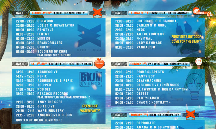 Ibiza Goes Hard 2017 – timetable release